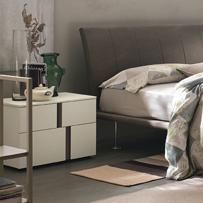 Mobili Domani Athena Bedside Medium Night Table, 2 Drawers