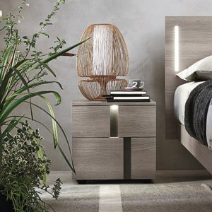 Mobili Domani Athena Bedside Small Night Table, 2 Drawers