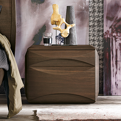 Mobili Domani Sidney Bedside Night Table, 2 Drawers